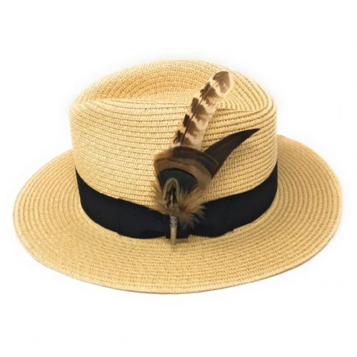 1a733c2361645 Ladies Panama Style Summer Hat with Removable Feather Brooch - Natural -  Dovecote